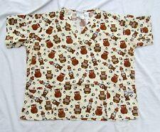 Bears Owls Uniform Medical Nurse Scrubs Top Shirt Short Sleeve Women Size XL