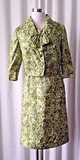 vintage 50's A Lady Petite Fashion  green flowers print dress suit M/L