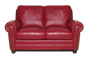 New Italian Leather Living  Cherry Red Italian Leather Loveseat