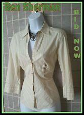 Ben Sherman Wear to Work Ladies Top Blouse Shirt Yellow Green Pastel Sz M