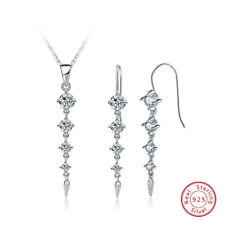 Jewelry Set Earrings&Necklace 925 Sterling Silver Crystal Rhinestone for Wedding