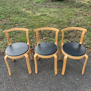 3 Magnus Olesen 8000 Stackable Chairs Bent Wood Leather Mid Century Danish