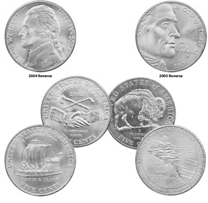 2004-2005 4 x Five Cent-Nickel coins Peace/Keelboat/Bison/Ocean View