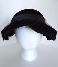 Vintage Gene Doris New York Black Velour Netted Woman's Ladies Hat