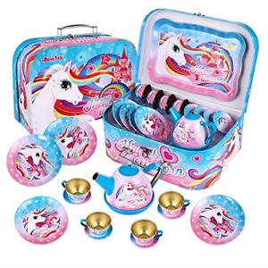 iBaseToy Kids Tea Set - Unicorn Castle Pretend Play Tea Party Set Toys with Case