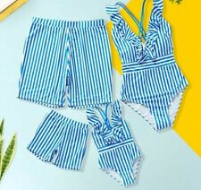 Mother and Daughter Swimsuit Blue Stripe Deep V-neck Crossed Summer Family Look