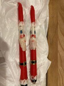 "Vintage 1960s Holt Howard Era Capri Christmas Candles Santa Claus Red Tapers 10"""
