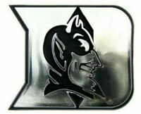 New Duke Blue Devils Raised Silver Chrome Colored Auto Emblem Decal