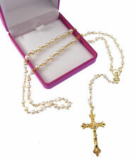 Imitiation pearl round small rosary beads in velvet box Catholic Our Lady gift
