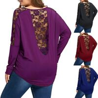 Fashion Women Casual Loose Long Sleeve Lace Patchwork Top Blouse Plus Size Shirt