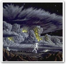 Space  Lithograph - Kim Poor - Moonlit Thunderstorm
