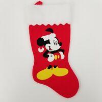 "Vintage Large 17"" Mickey Mouse Applique Disney Classic Felt Christmas Stocking"