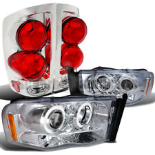 2002-2005 Dodge Ram Chrome Halo Projector Headlights+3D Style Tail Lamps