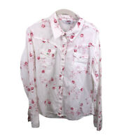 Roper Women's Large Floral Pearl Snap 100% Cotton Long Sleeve White Red Shirt