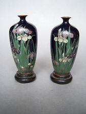 RARE ANTIQUE MEIJI JAPANESE SILVER WIRE CLOISONNE with wooden stands a/f