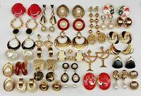 Vintage Gold Tone Earrings Lot Monet Norma Jean Trifari Avon Most NOS