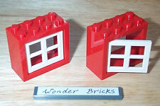 2x Lego Window Frames Red 2 x 4 x 3 with White Panes * House