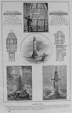 OLD PRINT LIGHTHOUSES EDDYSTONE SMEATONS WINSTANLEY c1900 ANTIQUE