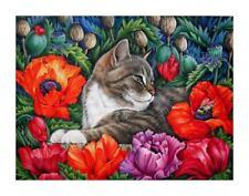 Tabby Cat Flamboyant Poppies Print by I Garmashova