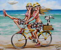 Beach surfing bike canvas PRINT Andy Baker painting  Abstract Australia