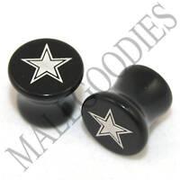 X043 Double Flare Saddle Acrylic Lonestar Star 0G 0 Gauge Plugs 8mm Solid Black