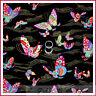 BonEful Fabric FQ Cotton Shamash Asian VTG BUTTERFLY Rainbow Gold Breast Cancer