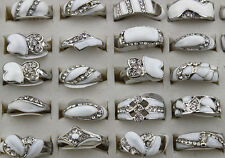 Wholesale New Job Lots 25pcs Rhinestone White Enamel Lady's rings