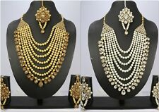 Indian Fashion Jewelry Golden Wedding Necklace Set Earring Tikka women new