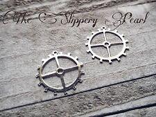 4 Gear Charms Pendants Steampunk Gears Shiny Silver Clock Gears Watch Gears