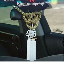 2Pcs Car Rearview Mirror Vip Charms Vip Gift Golden Rope & white Chinese Knot
