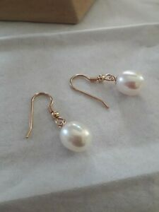 9ct Gold Pearl Drop Earrings, 11 x 9 mm AAA White  Cultured Freshwater Pearls