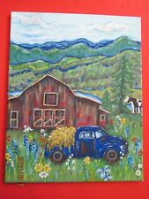"Blue Truck, Red Barn at Blue Ridge Pastoral, Art Print, 16"" x 20"""
