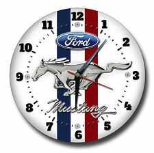 FORD MUSTANG 250MM DIAMETER METAL WALL CLOCK.CLASSIC MUSCLE CARS,AMERICAN CARS