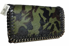 Grün Schwarz Camouflage Damen Tasche mit Leder Pelz Schultertasche Fereti Clutch