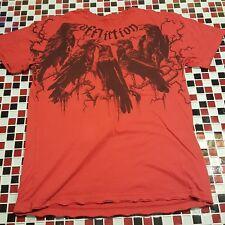 Affliction ~ MEDIUM Red T-shirt ~ Crows Birds ~ Older Vintage DISTRESSES Design