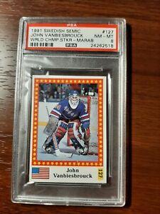 1991 Marabou John Vanbiesbrouk World Championship sticker PSA8 NY Rangers
