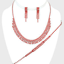 Red necklace bracelet earring rhinestone sparkly jewellery set prom party 0537