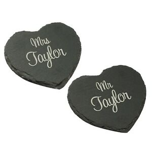 Drink Coaster, Set of 2 Personalised Mr & Mrs Slate Hearts, Anniversary Weddings