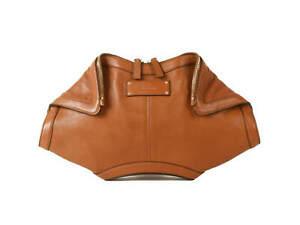 Authentic Alexander McQueen Brown Leather De Manta Clutch Handbag