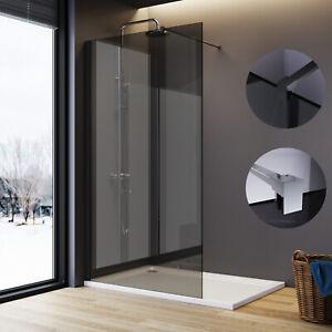 Black Shower Enclosure Grey Screen 8mm Easy Clean Glass Walk In Wet Room Cubicle