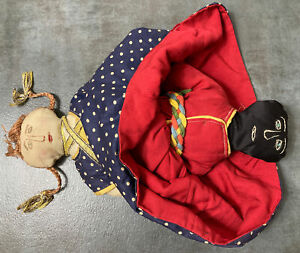 Vintage Handmade Topsy Turvy Fabric Folk Doll Embroidered Faces