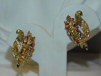 Vintage Golden Peach Aurora Borealis Rhinestone Gold tone Clip on Earrings 4i 95