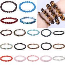 Men Women 8mm Natural Stone Round Gemstone Bead Handmade Bracelets Jewelry Gift