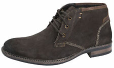 Mens Full Suede Leather Desert Boots Lace Up Ankle Boots Brogues Casual Shoes