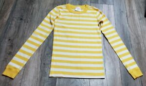 Hanna Andersson Yellow Striped Long Sleeve Tee Sz 10/12 Pajama Top EXCELLENT