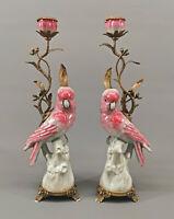 9931086 Pair Chandelier Candle Holders Cockatoo Bronze Porcelain 43x15x11cm