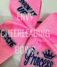CHEERLEADING GLITTER CHEER HAIR BOW  28 COLOURS AVAILABLE + FREE NAME ADDED