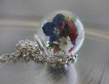 Kette echte Blumen *Bouquet* Halskette Blüten,Glas, Glaskugel (0088)