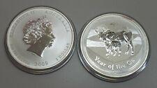 2009 $1 Australia Year of the Ox 1 oz .999 fine silver Lunar series 2 Coins