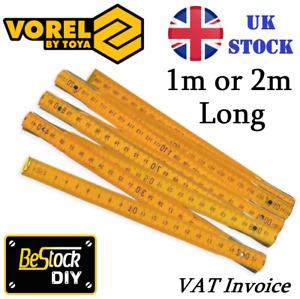 Wooden Folding Ruler 1m or 2m Wood Yard Stick Carpenter Metric Measuring DIY UK